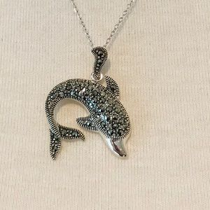 Sterling Silver Marcasite Dolphin Necklace